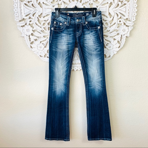 {Miss Me} Embellished Cross Easy Bootcut Jeans